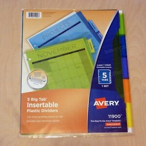 Avery 5 Big Tab Plastic Dividers Large Binder Multicolor With Printable Inserts