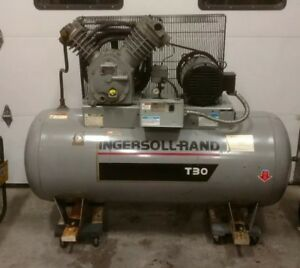 Ingersoll Rand T30 Air Compressor 2 Stage 10 Hp 3 phase W starter 200psi 120gal