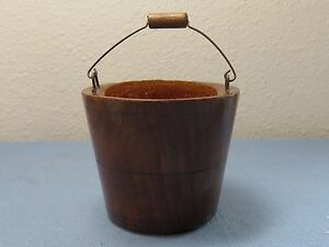 Antique Treen Sewing Velvet Pin Cushion In Wooden Bucket Marked Waers