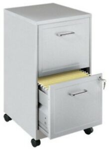 2 Drawer Mobile File Cabinet Silver Filing Cabinets Home Office Furniture Metal