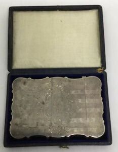 Victorian Sterling Card Case With Original Case Church Engraved S197