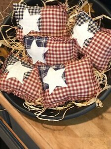 Primitive Flag Bowl Fillers Mini Pillows Prim Rustic Americana Ornies Tucks