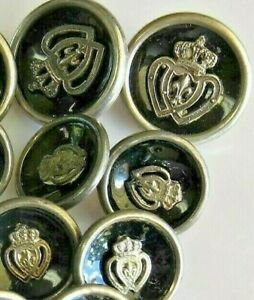 Vintage Sterling Silver Set Of 3 Jacket And Eight Shirt Buttons Enameled W Crest
