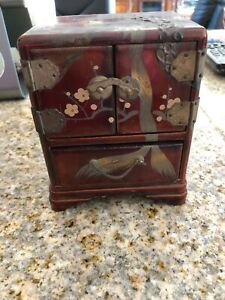 Vintage Small Jewelry Box Chest Hinges Asian Oriental Japanese Red 5 X 4