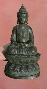 17th Century Chinese Gilt Lacquer Bronze Seated Buddha Figure Figurine 1200 Gram