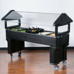 6 Black Plastic Nsf Open Base Portable Food Salad Bar With Sneeze Guard Usa