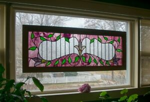 Victorian Extra Large Stained Glass Window Panel 19 X49 5