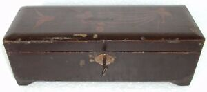 Old Wooden Burma Handcrafted With Lock Pen Pencil Box