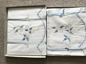 Boxed Set Of Vintage Pillowcases Containing Two Pillowcases And Bolster Case