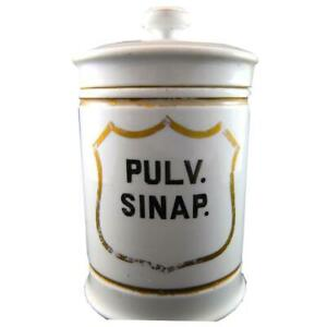 Early French Apothecary Jar Pulv Sinap