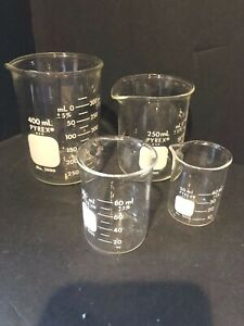 Set Of 4 Pyrex No 1000 Beakers Measuring Cups With Spout 50 100 250 400 Ml