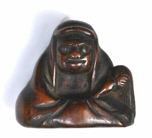 19c Japanese Boxwood Wood Carved Carving Netsuke Daruma Damo Buddha Figure