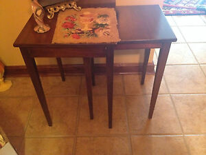 Vintage Mid Century Mod Eames Brandt Cherry Nestling Stacking End Tables Pair