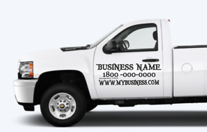 Custom Car truck Door Vinyl Sign For Any Business Black Or White 12hx24w X2