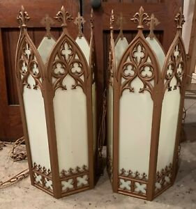 Vintage Pair Of Gothic Church Lights Hanging Great Condition 30 High