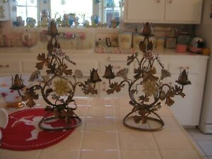 Fabulous Pair Of Old Italian Tole Candleholders With Porcelain Roses And Floral