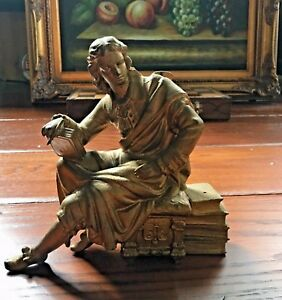 Victorian Parlor Clock Figure Seated Man Statue Gold Spelter Metal