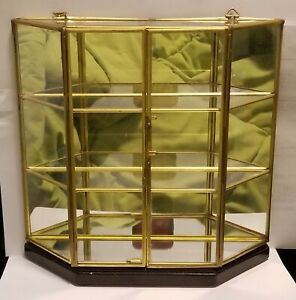 Vintage Glass Brass Curio Display Case Wooden Base Hinged Doors Miniatures
