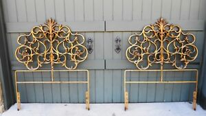Pair Gorgeous French Iron Headboards Large Fancy Gold Gilt Hollywood Regency