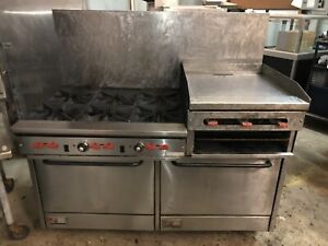 Southbend 60 Commercial Restaurant Range 6 Burner Griddle Broiler Double Oven