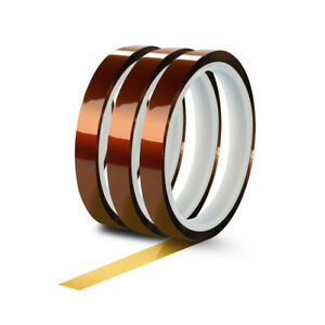 3 Rolls 10mm X 33m 100ft High Temperature Heat Resistant Kapton Polyimide Tape