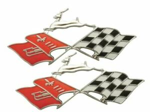 1958 58 Chevy Impala Quarter Panel Emblem Flag Pair