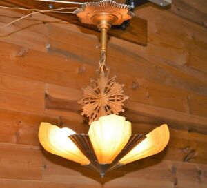 Antique Virden Art Deco Rayburn Amber Slip Shade Chandelier Arts