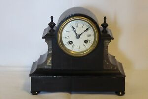 Antique Wooden Mantle Clock Folk Victorian Marble Style