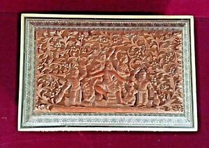 Antique Indian Hand Carved Sandalwood Box Bone Inlay