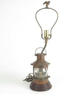 Vtg Maritime Masthead Table Lamp Tung Woo Nautical Copper Lantern