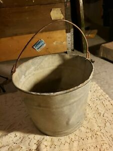 Vintage Metal Bucket 9 Tall 10 Top Diameter Some Dents