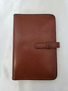 Vintage Coach Brown Leather Pocket Planner Organizer 3 4 Rings Tab