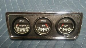 Vintage 1970 s Rac Gauge Pod Water Temp Oil Pressure Amperes Gauges