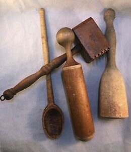 Vtg Antique Lot 4 Wooden Kitchen Tools Tenderizer Masher Spoon Primitive Rustic
