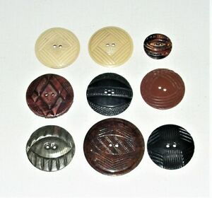 Vintage Lot Of 9 Celluloid Wafer Buttons Various Colors Patterns 1 Pair Ivory