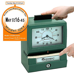 Acroprint 011070413 Model 125 Analog Manual Print Time Clock With Hours minutes