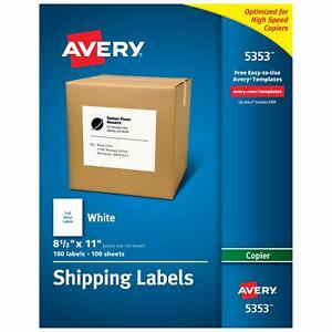 Avery Full sheet Labels For Copiers 8 1 2 X 11 Box Of 100 5353