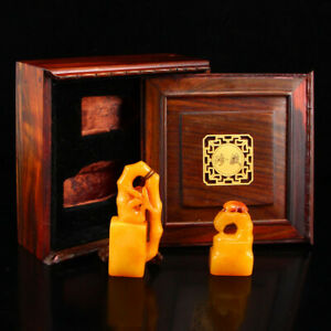 A Pair Superb Shoushan Stone Tianhuang Stone Seals