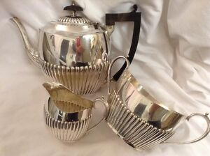 Lovely Vintage Three Piece Silver Plated Half Ribbed Tea Service 5pts 77