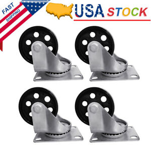 4pcs 3 5 Heavy Duty Steel Plate Cast Iron Casters Swivel Industrial Wheel Set
