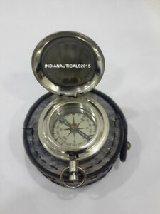Nautical Push Button Compass Vintage Handmade Maritime Compass With Case Gift