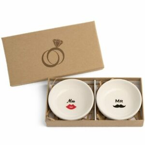 Spira Designs Mr And Mrs Jewelry Ring Dish In Engagement Gift Box