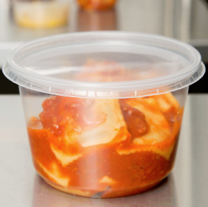 750 Case Microwavable 16 Oz Clear Round Plastic Deli Food Storage Container lid