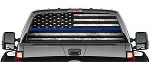 American Flag Police Pick up Truck Back Window Graphic Decal Perforated Vinyl