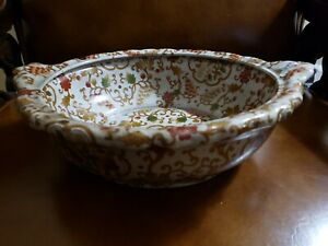 Very Old Chinese Hand Painted Pottery Bowl Or Wash Basin