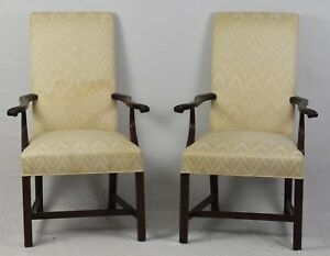 Pair Hickory Chair Co Mahogany Chippendale Style Arm Chairs Flamestich Fabric