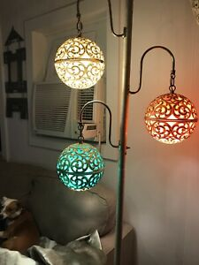 Tension Pole Lamp Midcentury Modern Lucite Detail W 3 Color Shades