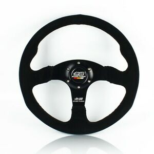 14 Mugen Style Dished White Stitching Suede Sport Steering Wheel W Horn Button