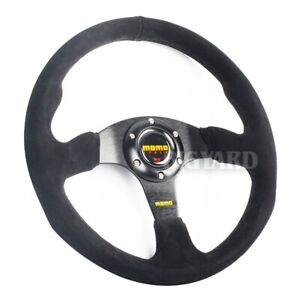 New 350mm Dished Genuine Suede Leather Racing Sport Steering Wheel W Momo Horn