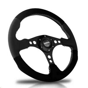 340mm Grey Leather Black Suede Flat Racing Sport Steering Wheel With Momo Horn